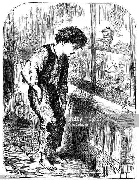 London Street Arab 1883 A boy shoeless and in rags looking longingly at the sweets in a confectioner's window From Le Voleur