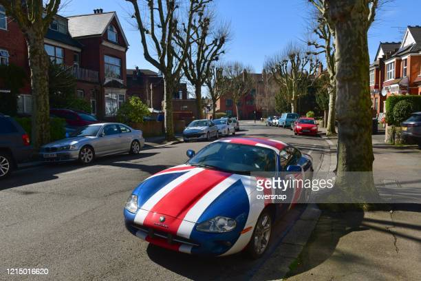 london street with jaguar car - camden london stock pictures, royalty-free photos & images