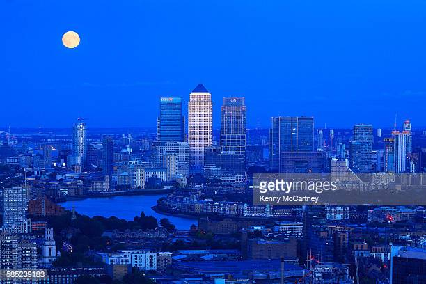 London - Supermoon over Canary Wharf