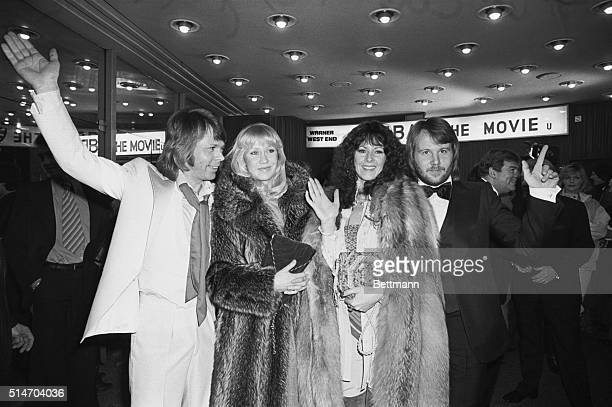 Swedish pop group ABBA are left to right Bjorn Agnetha Annifred and Benny as they arrive late 2/16 at the Warner Cinema Leicester Square for the...