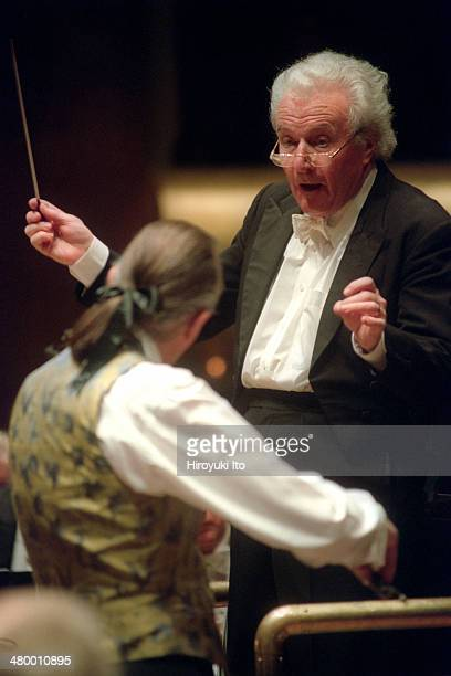 London Symphony Orchestra performing all-Berlioz program at Avery Fisher Hall on Tuesday night, March 4, 2003.This image:The conductor Sir Colin...