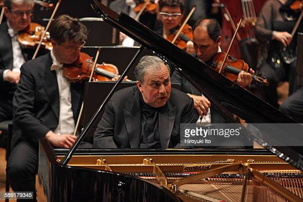 """London Symphony Orchestra performing at David Geffen Hall on October 23, 2015.This image:Yefim Bronfman performing Bartok's """"Piano Concerto No. 3""""..."""