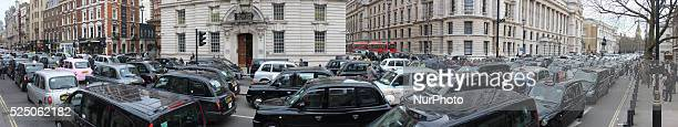 London Taxi drivers stage a protest on Whitehall on February 10 2016 in London England Drivers are claiming that Uber is not subjected to the same...