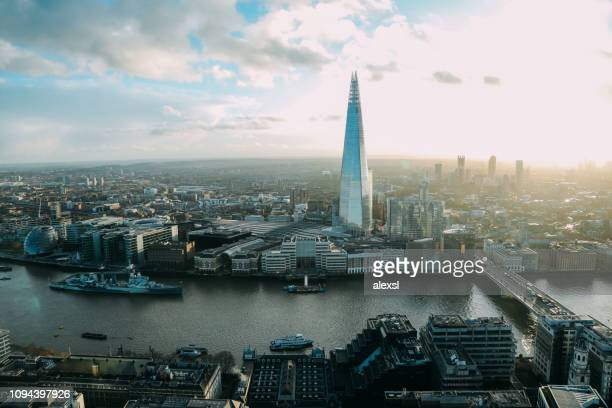 London the Shard modern office building financial district skyscrapers aerial view