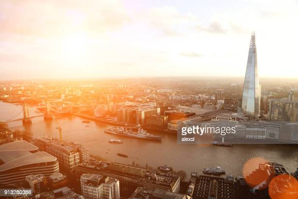 london the shard modern office building financial district skyscrapers sunset - shard london bridge stock pictures, royalty-free photos & images