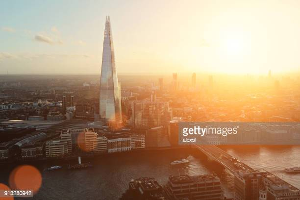 London the Shard modern office building financial district skyscrapers sunset