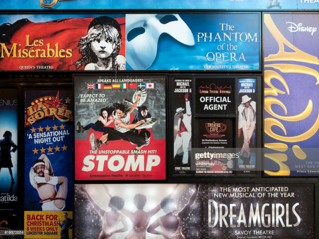 London theatre posters on a wall : Stock Photo