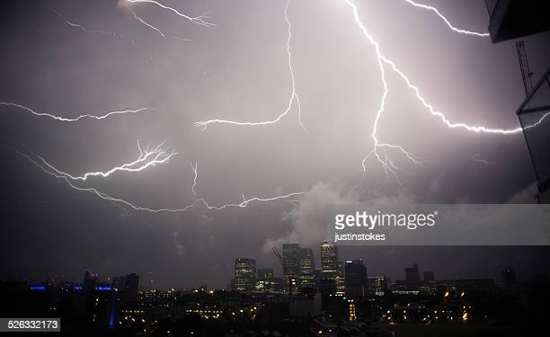 UK, London, Thunder and lightening above Canary Wharf