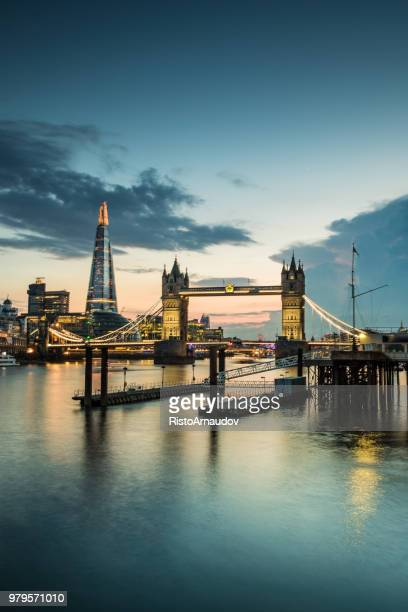 london tower bridge and the shard - shard london bridge stock pictures, royalty-free photos & images