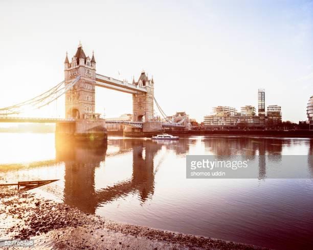 London Tower Bridge and the Southwark skyline, at sunrise