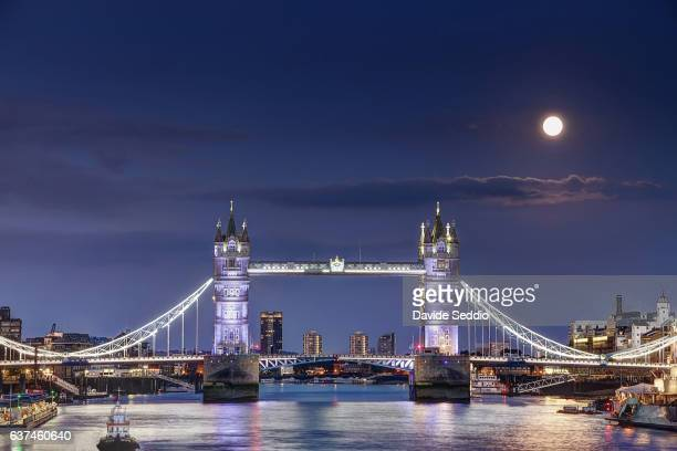 London Tower Bridge at night with full moon