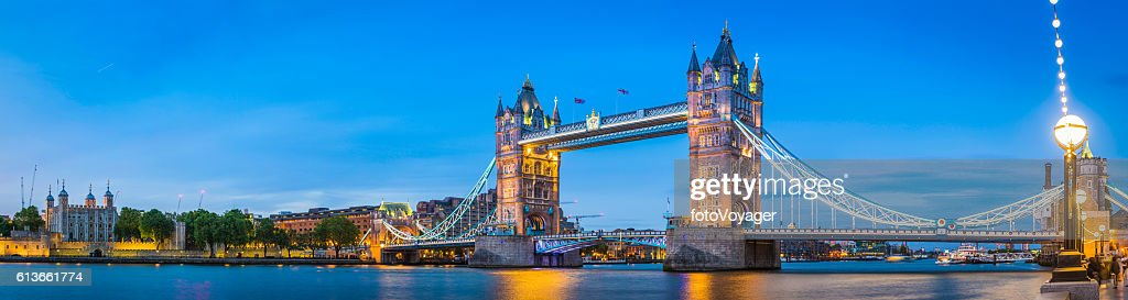 London Tower Bridge Embankment illuminated dusk River Thames panorama UK : Stock Photo