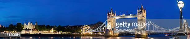 London Tower Bridge illuminated Thames night panorama