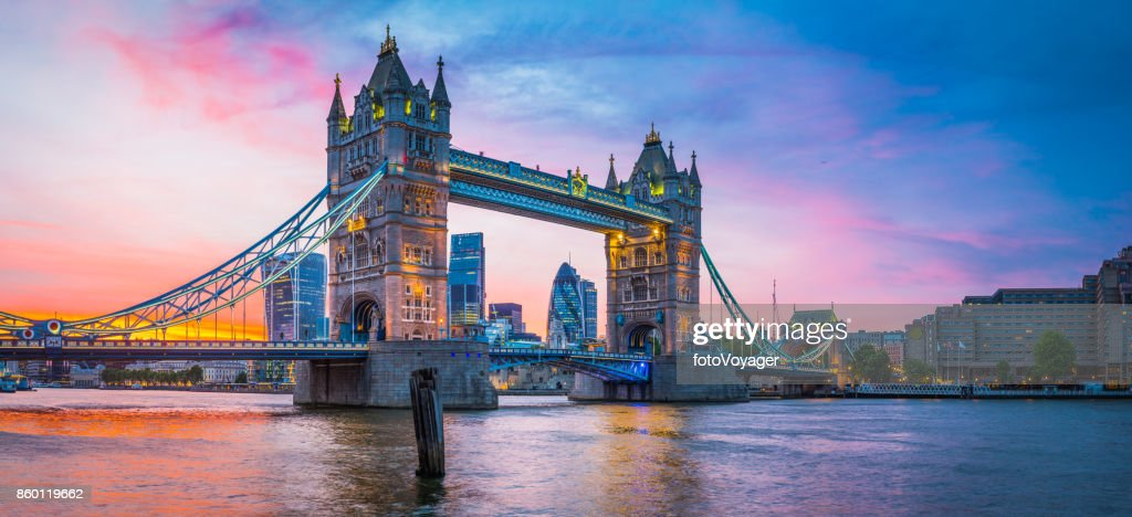 London Tower Bridge River Thames City skyscrapers illuminated sunset panorama : Stock Photo