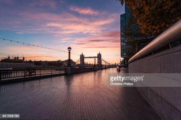 London Tower Bridge Silhouette at sunrise