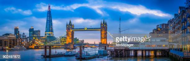 london tower bridge the shard overlooking river thames panorama uk - london bridge stock pictures, royalty-free photos & images