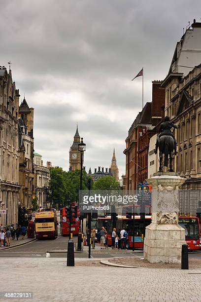 london - trafalgar square view of charles i statue - pjphoto69 stock pictures, royalty-free photos & images