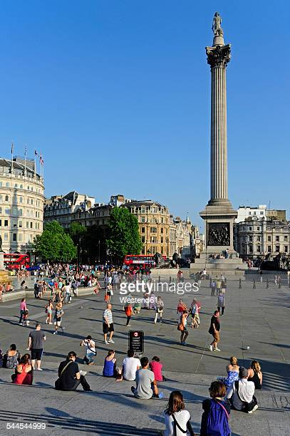 uk, london, trafalgar square with nelson's column - trafalgar square stock pictures, royalty-free photos & images