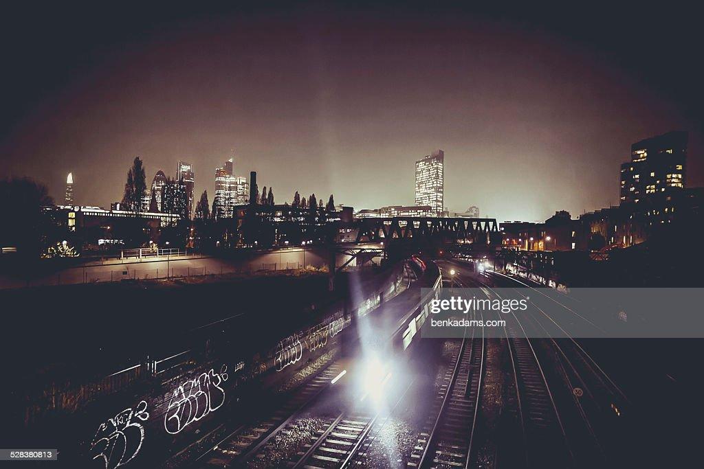 London train at night : Stock Photo