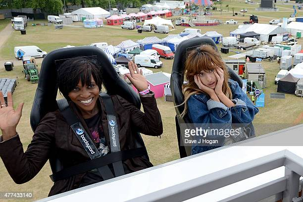 London TV presenter Brenda Emmanus and singer Foxes take a ride on the Barclaycard Better View Platform during the press launch ahead of the...