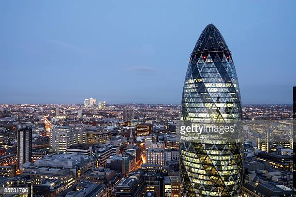 London twilight cityscape with Gherkin building
