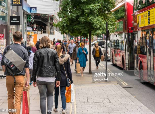 london - typical street scene - pedestrian stock pictures, royalty-free photos & images