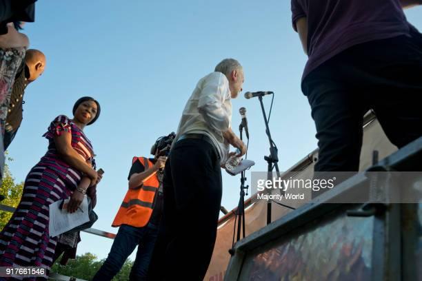 London UK 15th August 2016 Jeremy Corbyn at rally for ethnic minorities at Highbury Fields London
