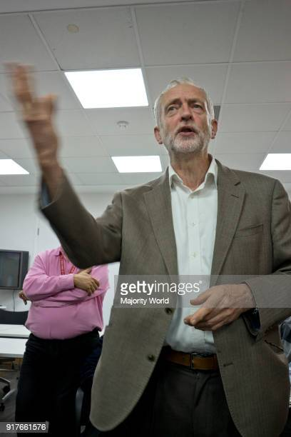 London UK 20th September 2016 Momentum supporters and phonebank volunteers listen to Jeremy Corbyn at Unite Union HQ in London