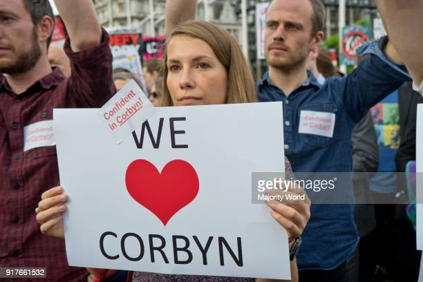 London UK 27 June 2016 Supporters of Labour Party leader Jeremy Corbyn MP demonstrating outside Parliament to keep him as leader