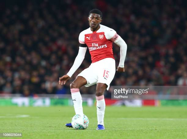 London UK 31 October 2018 Ainsley MaitlandNiles of Arsenal During Carabao Cup fourth Round between Arsenal and Blackpool at Emirates stadium London...