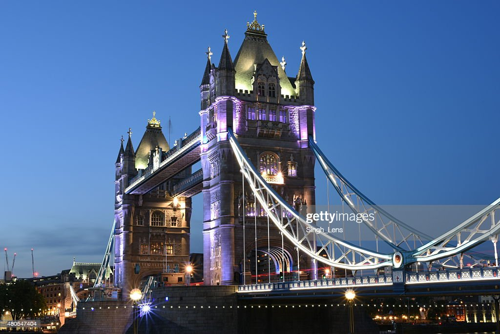 London, UK, Tower Bridge bei Nacht : Stock-Foto