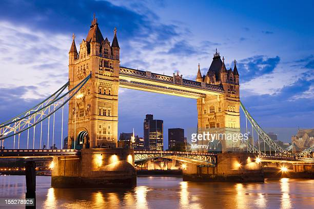 london uk tower bridge at river thames sunset twilight scene - london bridge stock photos and pictures