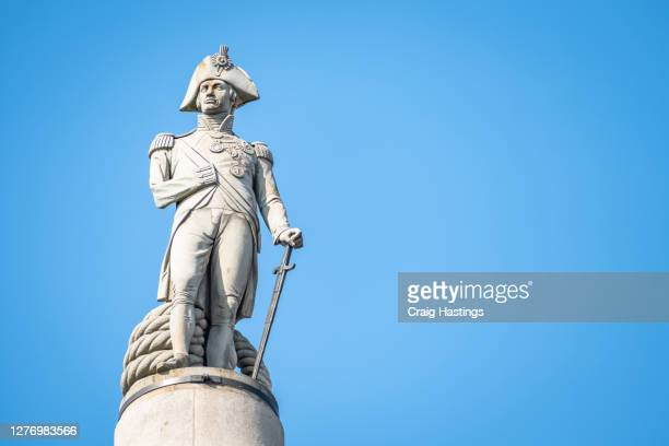 london uk, trafalgar square with nelson's column - national portrait gallery london stock pictures, royalty-free photos & images