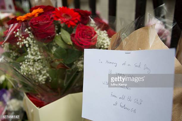 London UK Tuesday 7th July 2015 10th anniversary of the London 7/7 bombings Flowers are laid in memory of the victims of the terrorist attack in...