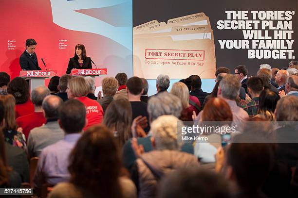 London UK Wednesday 29th April 2015 Labour Party Leader Ed Miliband and Shadow Secretary of State for Work and Pensions Rachel Reeves speaks at a...