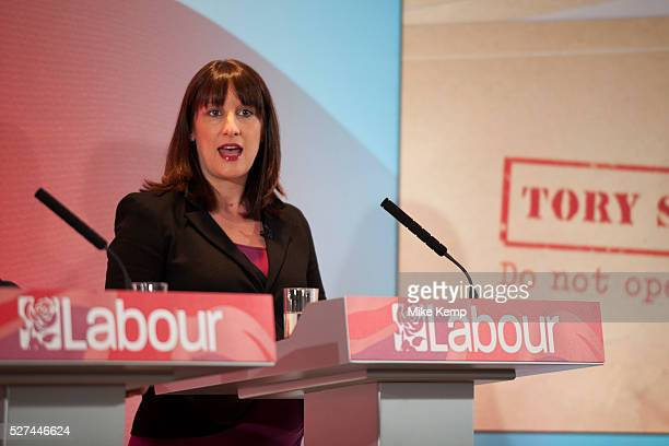 London UK Wednesday 29th April 2015 Labour Party Shadow Secretary of State for Work and Pensions Rachel Reeves speaks at a General Election 2015...