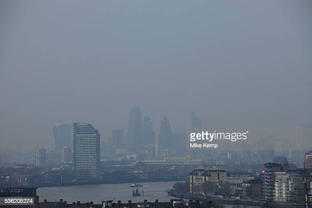 London UK Wednesday 2nd April 2014 Industrial pollution from Europe and dust from the Sahara region creates a layer of smog over the City of London...
