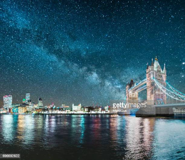 london under the stars - london bridge stock photos and pictures