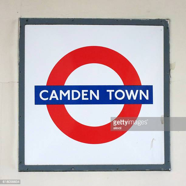 london underground camden town station - underground sign stock pictures, royalty-free photos & images