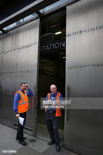London Underground employees stand outside a closed Waterloo Tube Station on August 6 2015 in London England London Underground workers are staging...