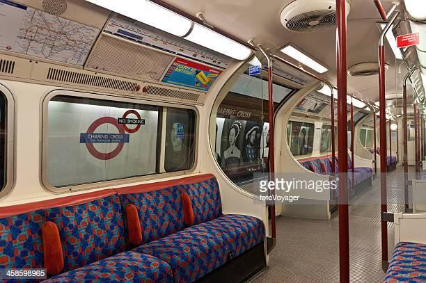 London underground empty tube carriage Charing Cross