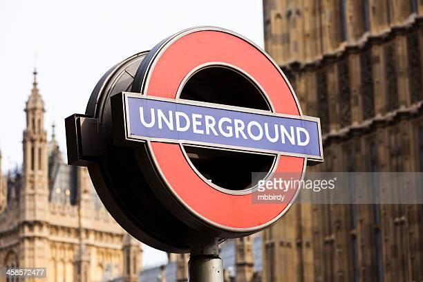 London Underground famous sign near Big Ben
