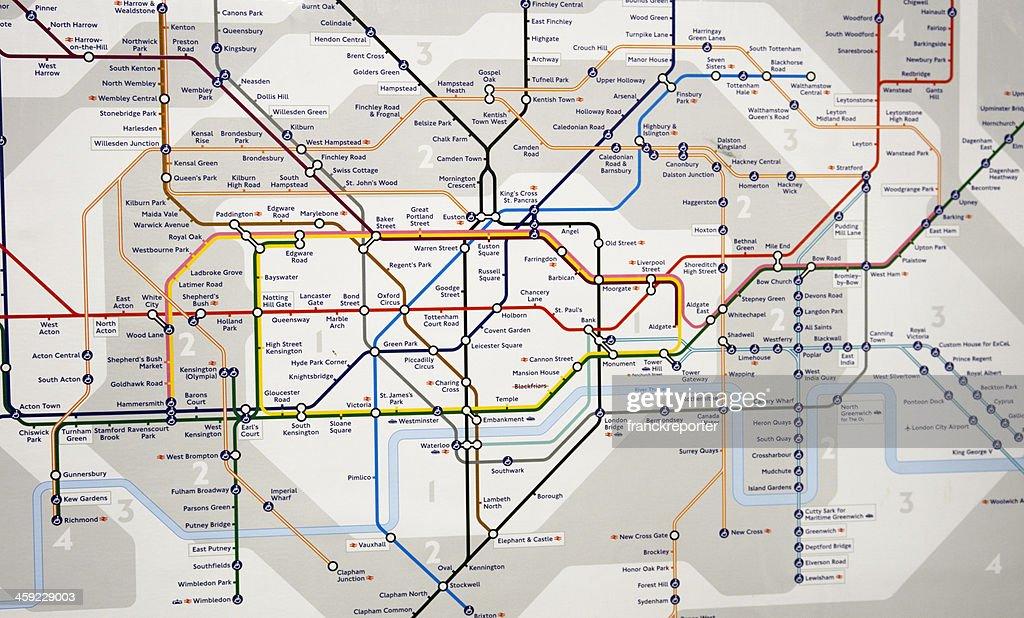 London Underground Map - Subway metro station : Stock Photo