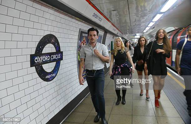 London Underground passengers travel on Victoria line in London England on August 19 2016 The London underground has just launched a new 24 hour...