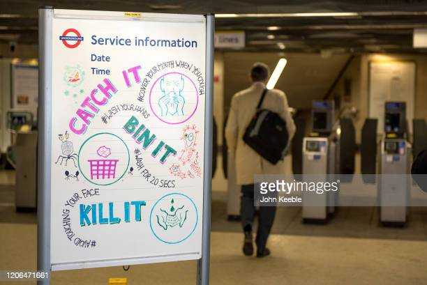 London Underground service information poster gives information on how to prevent the spread of the Coronavirus at a station on March 10 2020 in...