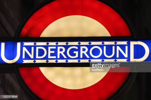 London Underground sign at the entrance to London Metro Station On Saturday 25 January 2019 in London United Kingdom