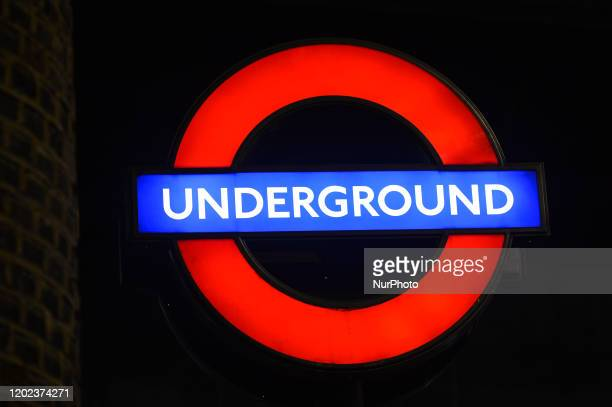 London Underground sign seen at the entrance to London Bridge Metro Station On Saturday 25 January 2019 in London United Kingdom