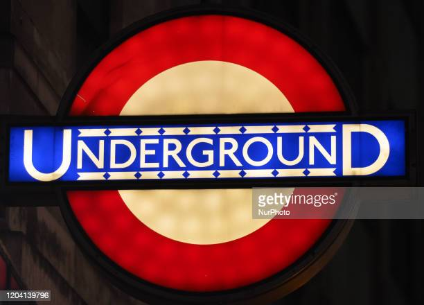 London Underground sign seen at the entrance to London Bridge Metro Station On Saturday 25 January 2020 in London United Kingdom