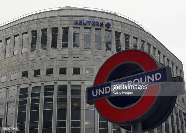 London Underground sign stands in front of Reuters' Canary Wharf headquarters February 22, 2006 in London, Englnad. The global information company is...