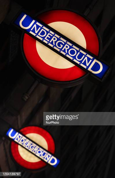 London Underground signs seen at the entrance to London Bridge Metro Station On Saturday 25 January 2020 in London United Kingdom